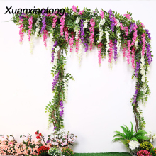 Xuanxiaotong 180cm Wisteria Artificial Flowers Rattan Wedding Arch Decoration Wall Handing Decor Fake Vines