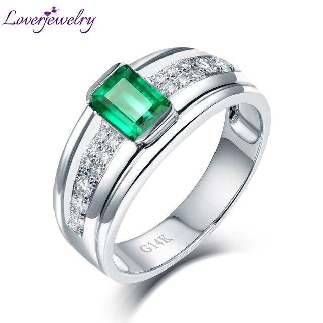 a2c01225f4e5 Brillante diseño Natural Colombia compromiso Real anillo sólido 14 K oro  blanco de diamantes de lujo