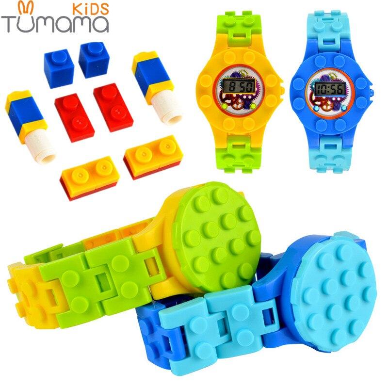 Tumama Orologio Digitale Blocchi di Piastra di Base Compatibile Legoed Minecrafted Mini Mattoni di Base FAI DA TE Educativi Giocattoli Figure Orologio di Base