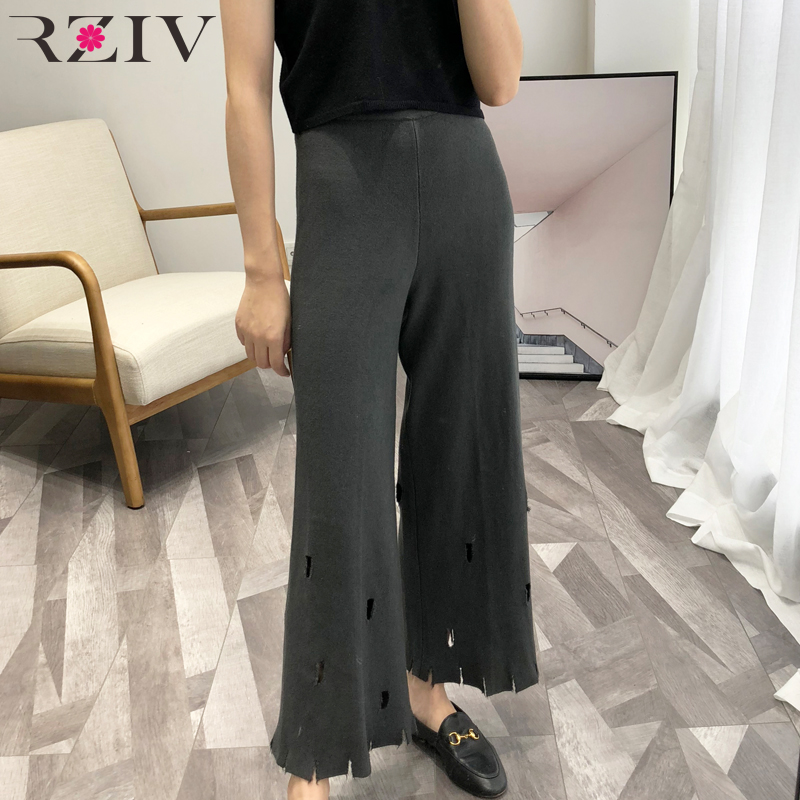 RZIV 2018 autumn female   pants   casual solid color hole decoration knit   wide     leg     pants