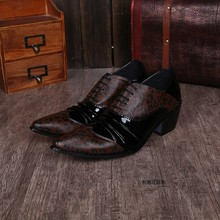 Sapato social men shoes leather pointed toe dress shoes brown oxford shoes high heels lace up formal alligator shoes for men недорого