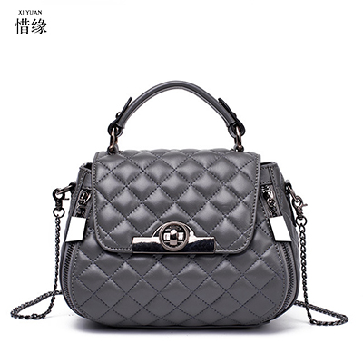 Famous Designers Quilted Sheepskin Genuine Leather Plaid Women Shoulder Bag Brand Bag Handbag Small Chain messenger Bag Sac grey