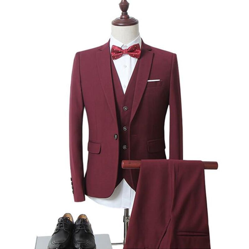 mens business casual suits sets / Men three-piece suit three separate set / male vest+Blazers+pants PLUS SIZE 6XL suit coat