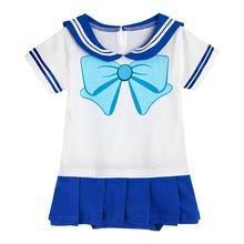 Dla dzieci śpioszki dziewczęce dla niemowląt Sailor Mercury Cosplay body sukienka Bebe japoński Anime Sailor Moon Party kostium prezent na chrzest tanie tanio Moda COTTON Dziecko dziewczyny Cartoon Krótki Sailor collar SA-2036 Pasuje prawda na wymiar weź swój normalny rozmiar