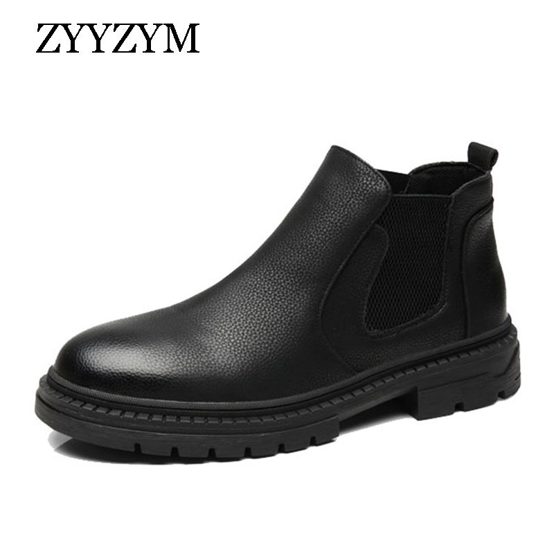 ZYYZYM Men Chelsea Boots Leather Ankle All Black Retro Mens Zapatos De Hombre Winter Shoes