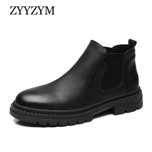 ZYYZYM Men Chelsea Boots Leather Ankle Boots Men All Black Retro Mens Boots Zapatos De Hombre Men Winter Shoes Leather Boots цены