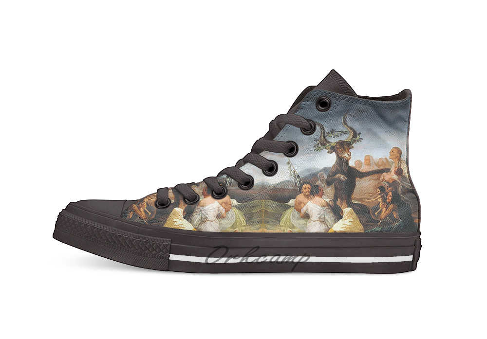 Francisco Goya Witches' Sabbath   Design breathable Casual High Top lace-up Canvas shoes sneakers