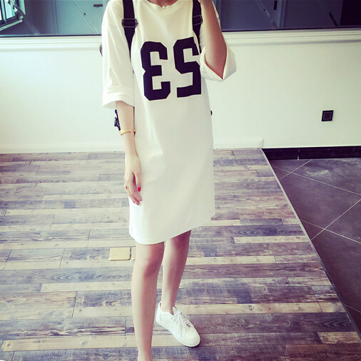 2015 Summer New Korean Street Fashion Star Fan 23 Printing Loose Big Yards Long T