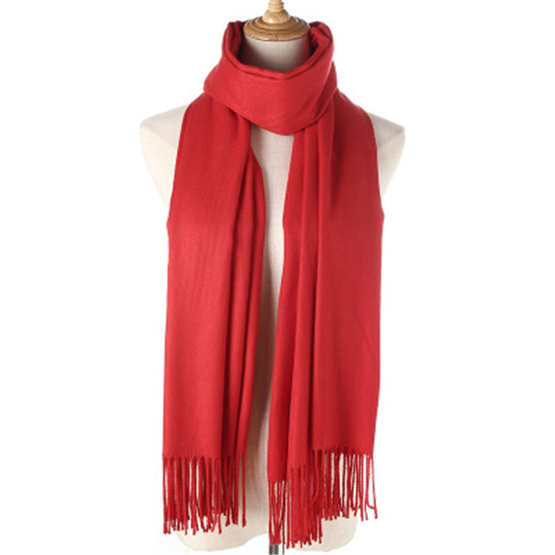 Imitation Cashmere Scarf Solid Color Thickening Cashmere Long Scarf Winter Tassel Scarves Shawl Female Women Wraps Ladies Shawl