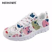 Zapatos de mujer casuales dibujos animados instantts patrón dibujado a mano malla transpirable Zapatillas verano planos