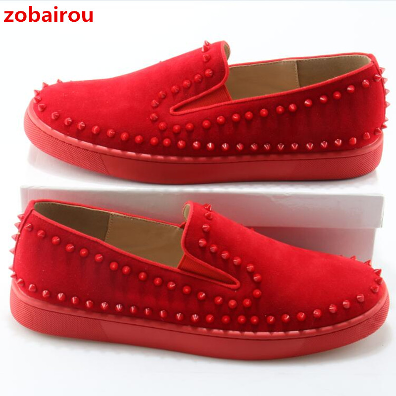 Zobairou Brand Spikes Casual Shoes For Men Fashion Comfort Flats Boat Shoes Red Thick Sole Suede Leather Slip On Loafers brand summer casual men suede brathe slip on loafers driving shoes fahion boat shoe handmade leather moccasin shoes for men