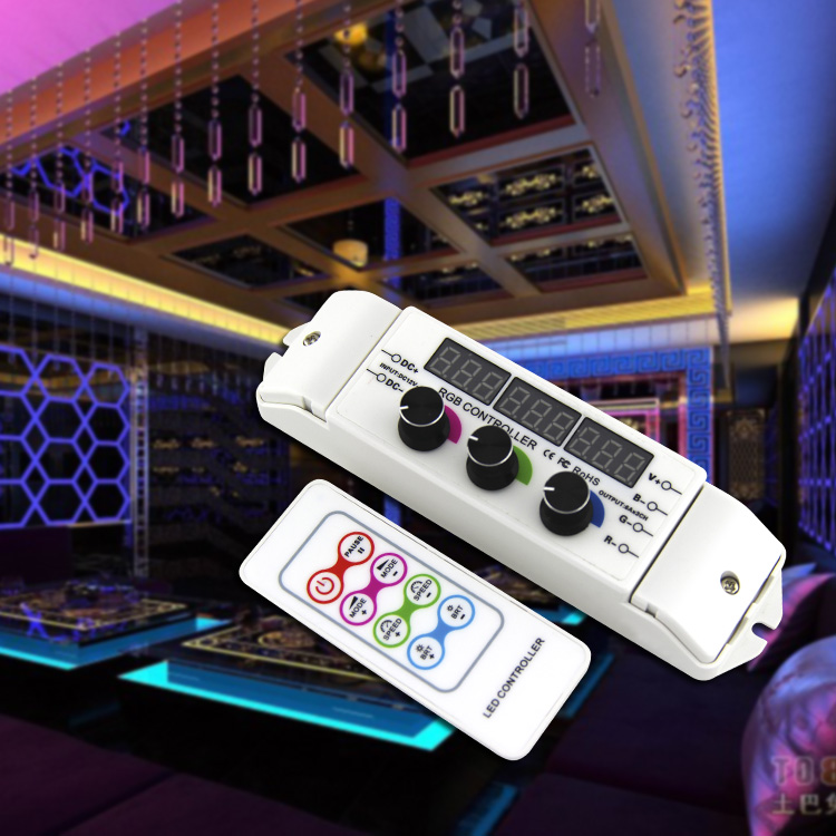 BC-350RF CV RGB Led Controller RF Wireless Remote knob Rotary Switch RGB Strip Dimmer 18A Output for 5050 2835 LED strip lights