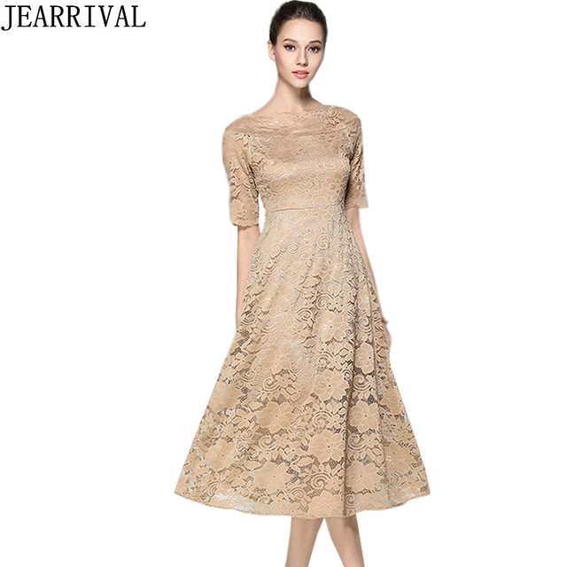 a6824967894e6 US $26.92 19% OFF|High Quality Lace Dress 2017 New Summer Fashion Elegant  Women Slash Neck Hollow Out Ball Gown Tunic Party Dresses Vestidos Mujer-in  ...