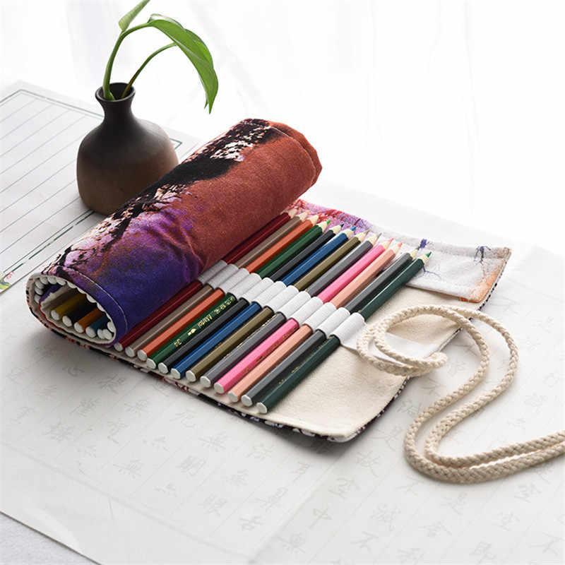 Kawaii ผ้าใบ Penal ม้วนกระเป๋าใส่ดินสอ 36/48/72 หลุม Sunset Pencilcase สำหรับหญิงขนาดใหญ่ปากกากระเป๋ากระเป๋าเครื่องเขียน