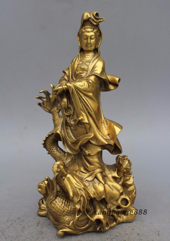 9 China Buddhism Brass Kwan-Yin Hold Bottle GuanYin Ride Dragon Lotus Statue 9 China Buddhism Brass Kwan-Yin Hold Bottle GuanYin Ride Dragon Lotus Statue