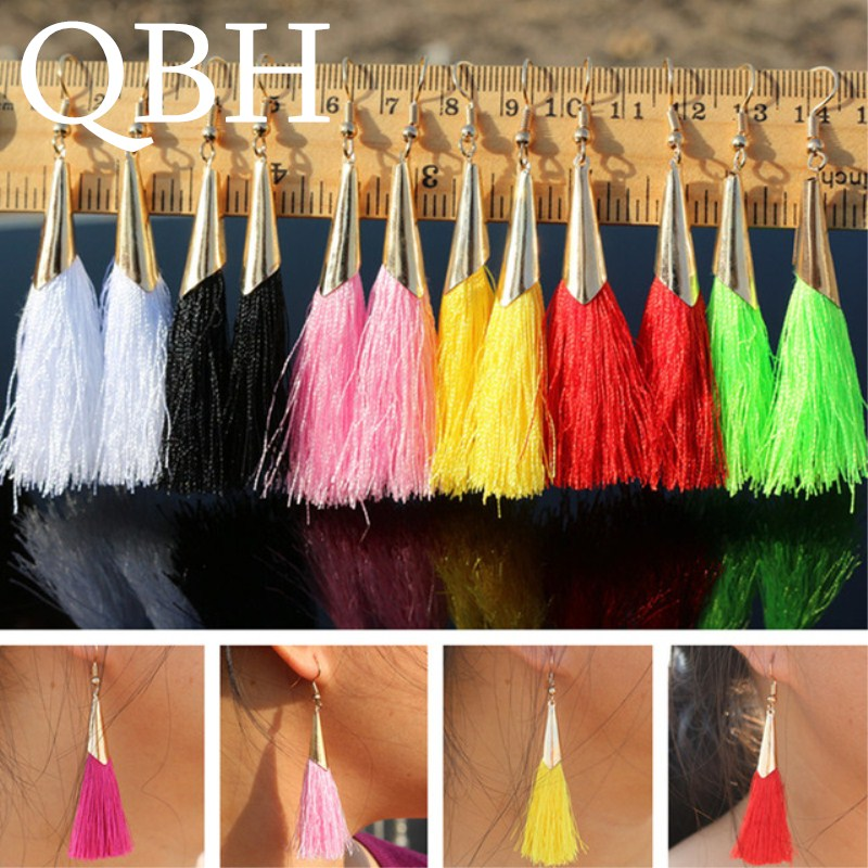 EK990 Many Colors Brincos Love Bohemian Ethnic Long Tassel Drop Earrings For Women Wedding Jewelry Earings Pendientes Orecchini
