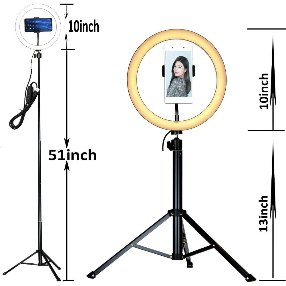 10 Selfie LED anneau lumière lampe de bureau Mini caméra LED lumière avec trépied support et cellule support pour téléphone pour smartphones en direct maquillage - 4