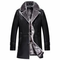 2017 Новинка зимы пиджак воротник Для мужчин кожаная куртка с меховой воротник длинные отличное качество манто Homme Hiver