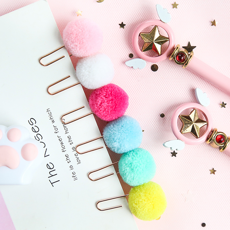 12pcs Cartoon Pom Pom Metal Bookmarks For Book Accessories Fuzzy Ball Paper Clip Stationery Gift Office School Supplies A6108