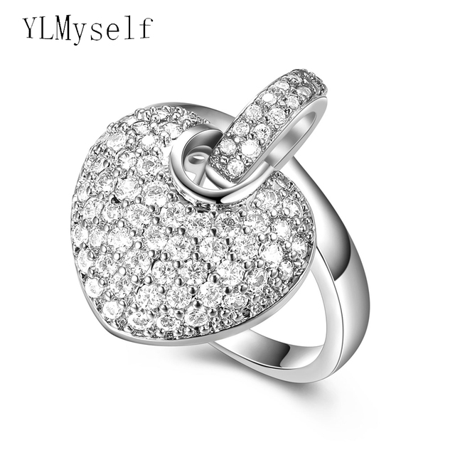 Lovely Rings For Birthday Gift Cute Romantic Jewelry Girlfriend Sparkly Cubic Zirconia Crystal Fashion