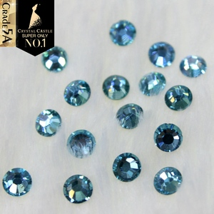 Crystal Castle Aquamarine Top Strass Hotfix Luxury Glass Stone Blingbling Aqua Blue Hot Fix Rhinestone For Diy Motif Design