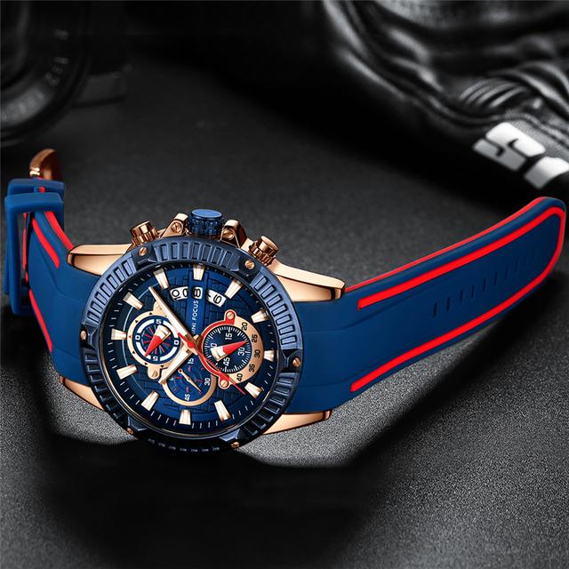 MINI FOCUS Mens Watches Top Brand Luxury Fashion Sport Watch Men Waterproof Quartz Relogio Masculino Silicone Strap Reloj Hombre