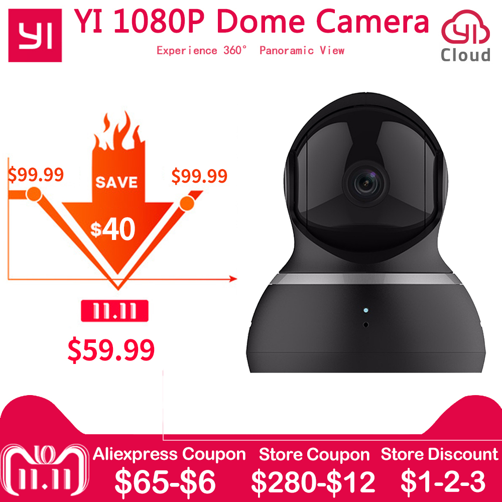 [International Edition] Xiaomi Yi Dome Camera 1080P FHD 360 degree 112 wide-angle Pan-Tilt Control Two-way Audio YI Dome Camera цена