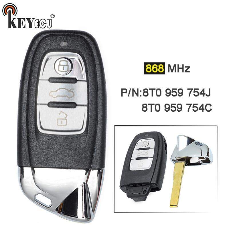 KEYECU 868 MHz 8T0959754C ou 8T0959754J modifié comme pour Lamborghini 3 boutons Smart télécommande porte-clés pour Audi Q5 A4-S4 Avant A5-S5
