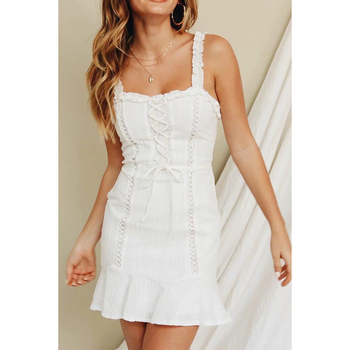 b366d0f6e446 KHALEE Yosef blanco Mini vestido de verano de las mujeres de tirantes  vestidos de fiesta de encaje sin respaldo de algodón volantes Casual  elegante ...