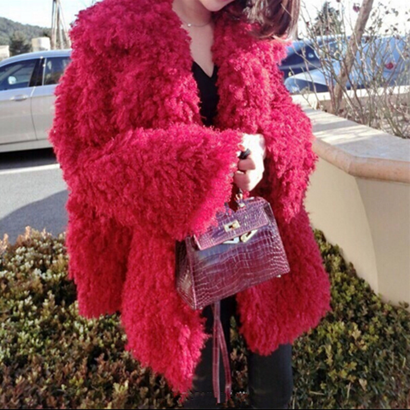 New Stylish Red Curly Long Hairy Shaggy Faux Lamb Wool Fur Coat Winter Women Lapel Faux Fur Jackets Loose Mid Long Outerwear XL