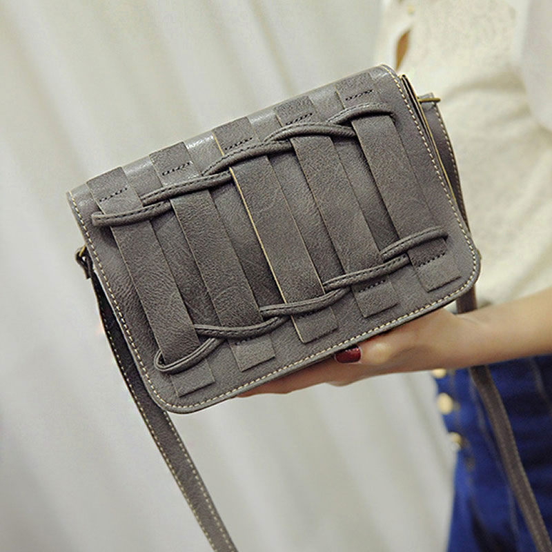 New Fashion Women Girl Purse Bag Women PU Leather Messenger Bag Crossbody Shoulder Bag Satchel Hasp Knitting Soft Solid Casual