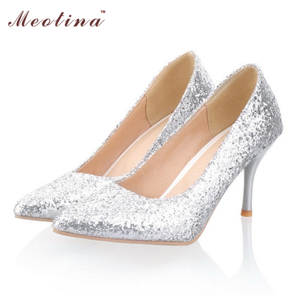 Meotina Shoes Women Pointed Toe High Heels Glitter Pumps Thin Heels White Wedding Bridal Shoes Sliver Gold Big Size 9 10