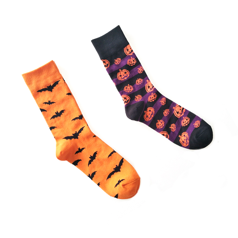 Funny Halloween Bats Pumpkin Pattern  Socks Unsex Cotton Sockings Cartoon Cosplay men Socks
