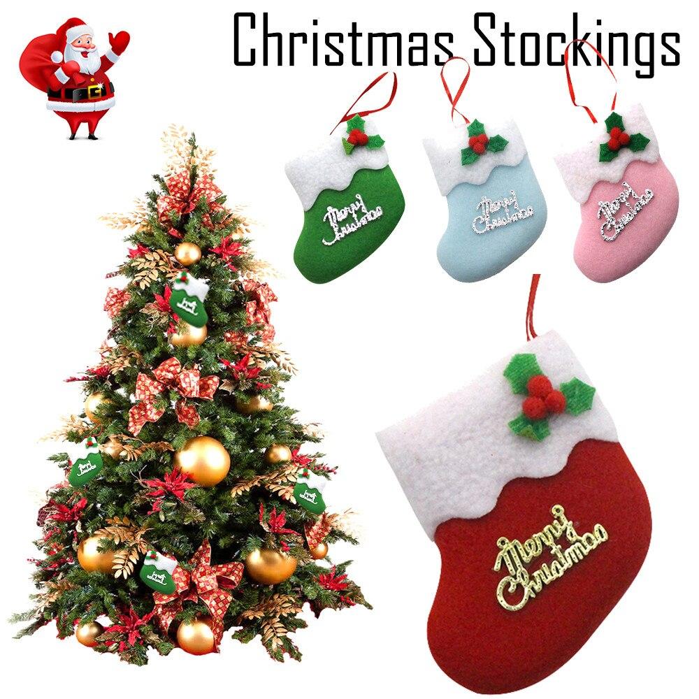 8 al por mayor decoraciones de árbol de Navidad calcetines colgantes ...