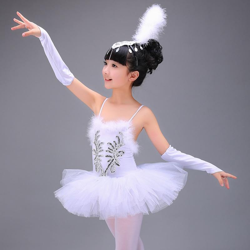 New models Girls Ballerina Dress Kids White Swan Lake Ballet Costumes Dance Wear Children Strap