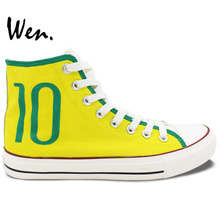 Wen Hand Painted Shoes Design Custom Brazilian Football Number 10 Soccer Unisex High Top Canvas Sneakers for Gifts