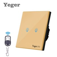 Yeger EU UK Standard Tactile Commutateur 2 Gang 1 Way Mur Light Touch Commutateur Switch Panel