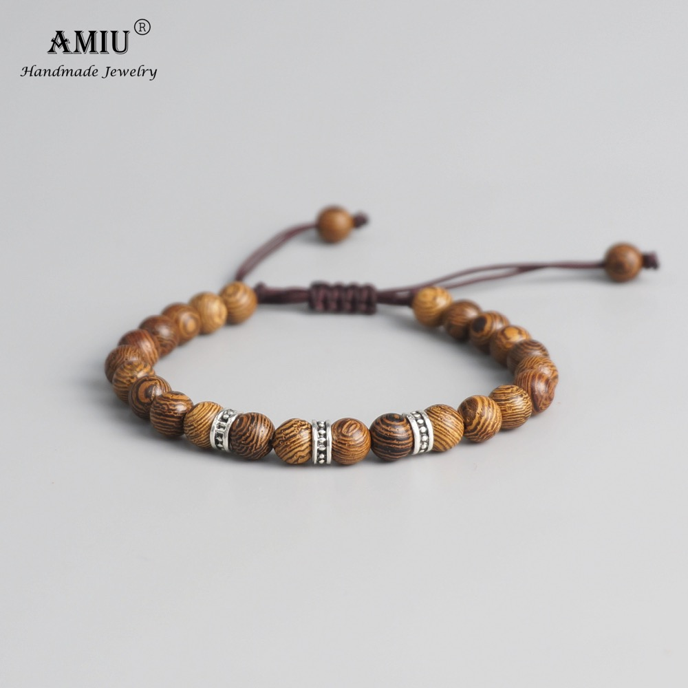 AMIU Tibetan buddhist Bracelet Hand Braided Lucky Knots bracelet Natural 6mm Wood Beads Carved Handmade Bracelet bracelet