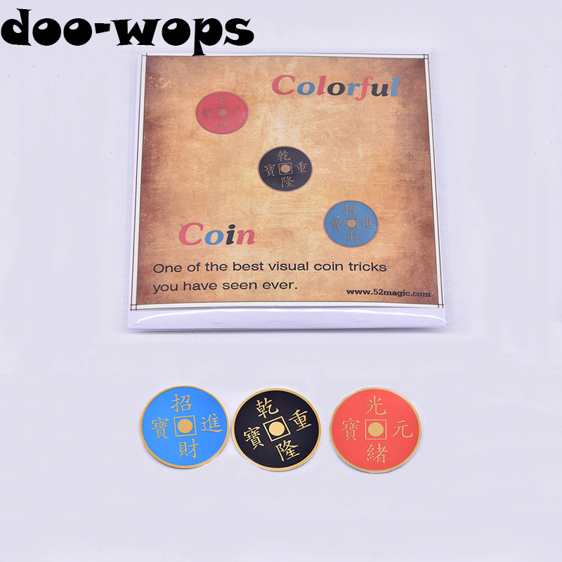 Colorful Coin (Morgan version) Magic Tricks One Coin to Three Color Change Appear Vanish Coin Magia Close Up Gimmick Props Funny цена и фото