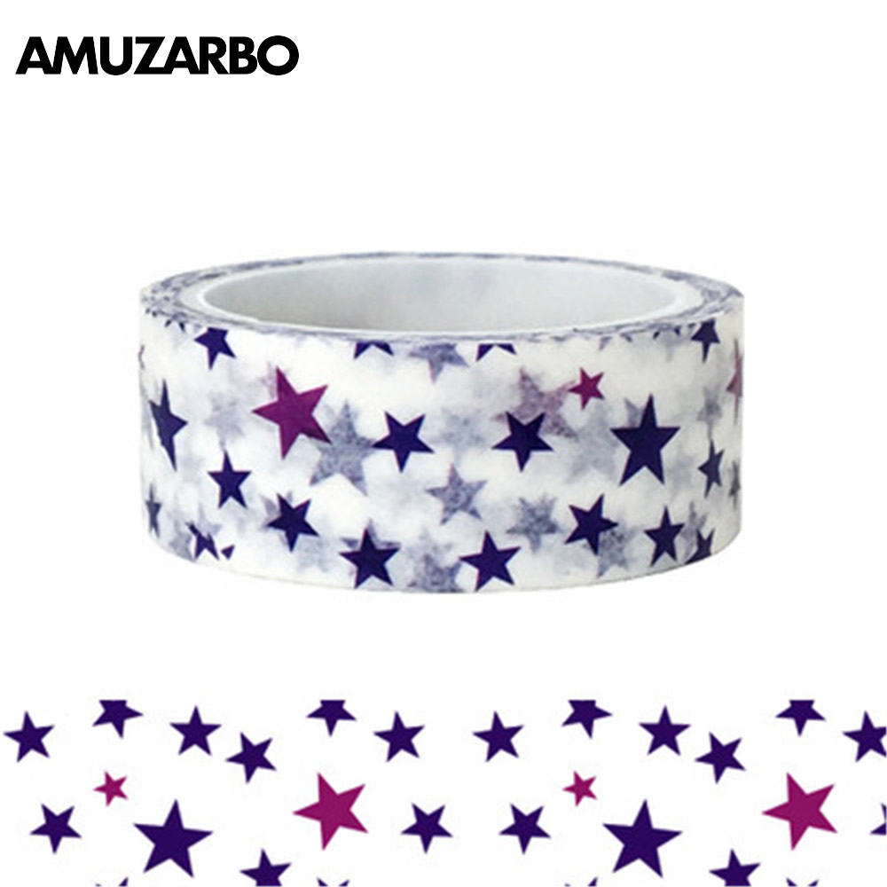 1 Pcs Blue Purple Little Star Washi Tape Paper Masking Tapes Adhesive Tapes Stickers Decorative Stationery Tape 1.5cm*5m