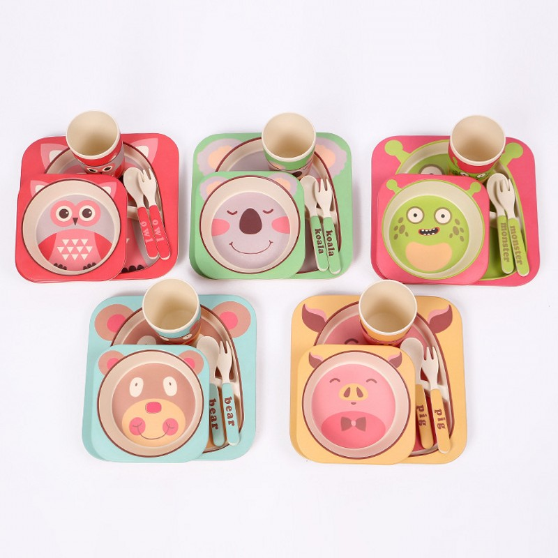 5pcs/set Character Baby Plate Bow Cup Forks Spoon Dinnerware Feeding  Set,100% Bamboo Fiber Baby Children Tableware Set