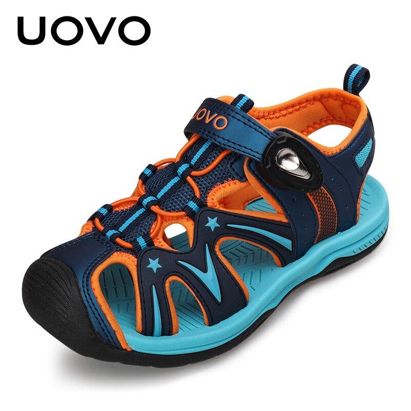 UOVO EUR 32-38 2018 New Big Boys Sandals For Kids Summer Beach Shoes Boys Sport Sandals Children Cut-Outs Shoes
