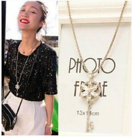 New Arrival crystal flower key design long pendant necklace Women elegant rhinestone sweater chain Jewelry TH-N499