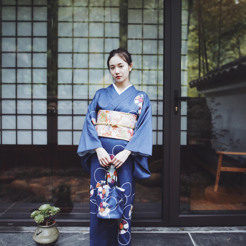 Blue Japanese Women Formal Dress National Kimono Yukata With Obi Print Flower Girl Robe Gown Vintage Cosplay Costume Size S M