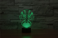 Free Shipping 3D 7 Color Acrylic Face Visual Lampara Led Night Lights For Kids Touch USB