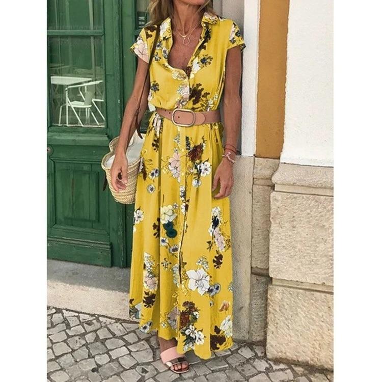 hawaiian vacation floral print loose midi dress with belt Women yellow short sleeve turn-down collar button up long shirt dress