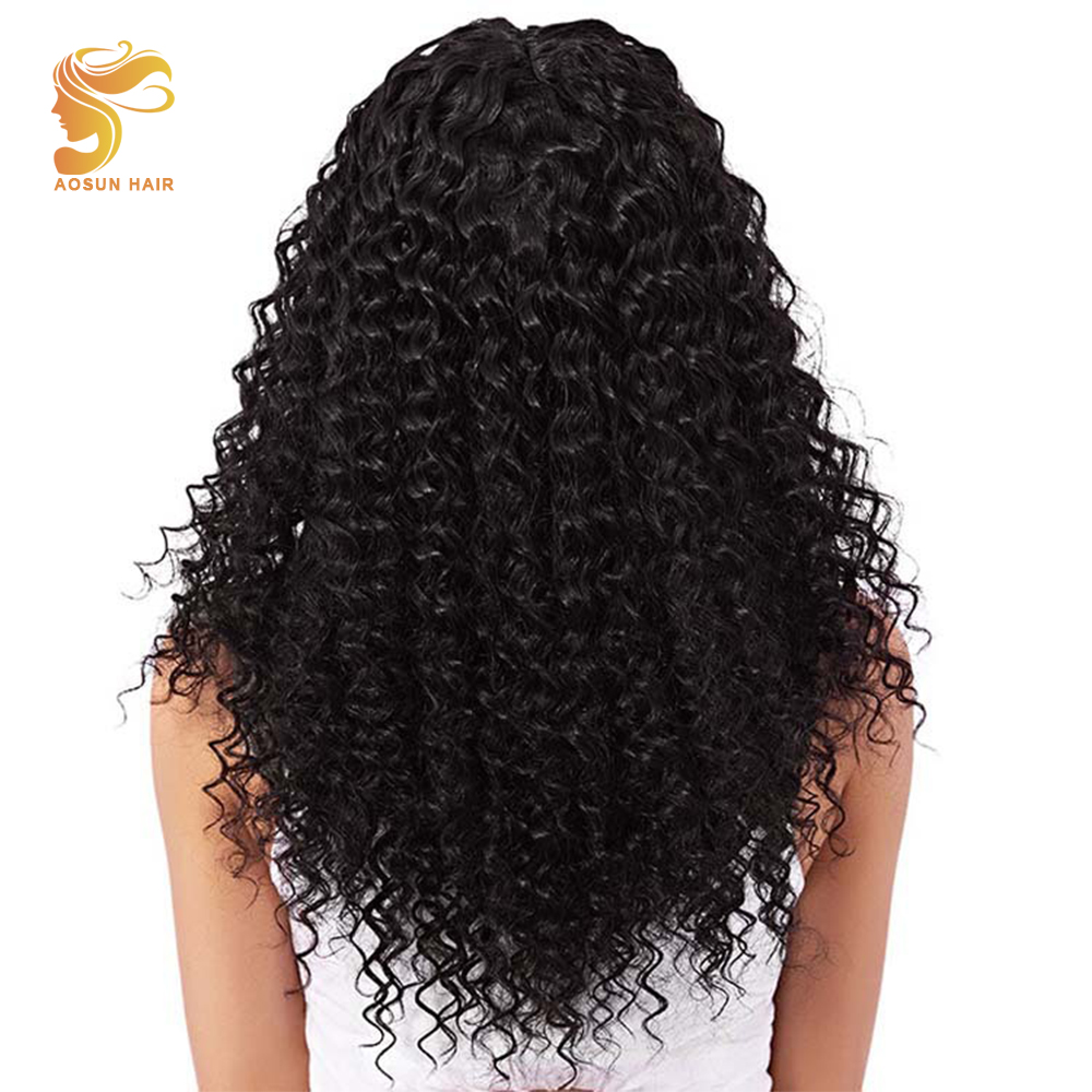 AOSUN Hair Brazilian Curly Hair Weave Bundles 100% Human Hair Extensions Natural Color Remy Hair 3 bundles For Full Head