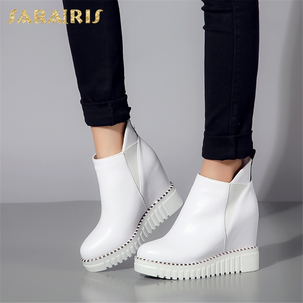 SARAIRIS 2018 Cow Leather Large Size 32-40 Elastic Band Woman Vulcanize Shoes Women Platform Increasing Heels Shoes Woman