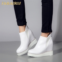 SARAIRIS 2018 Cow Leather Large Size 32 40 Elastic Band Woman Vulcanize Shoes Women Platform Increasing Heels Shoes Woman