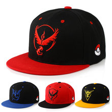 Pokemon Go Team Valor Baseball Cap Unisex Embroidery Mystic Team Instinct Snapback Hip Hop Hat Metal Mulisha Pokemon Game CP0108(China)